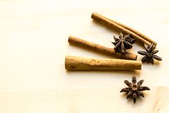 Cinnamon and anise on white background. Spices for coffee, hot tea, mulled wine, punch royalty free stock photography