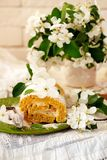 Cinnamon Apple Cake Roll with cream cheese. Style vintage.selective focus Stock Photo