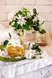 Cinnamon Apple Cake Roll with cream cheese. Style vintage.selective focus Stock Photos