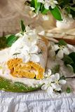 Cinnamon Apple Cake Roll with cream cheese. Style vintage.selective focus Stock Image