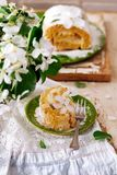 Cinnamon Apple Cake Roll with cream cheese. Style vintage.selective focus Stock Images