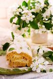Cinnamon Apple Cake Roll with cream cheese. Style vintage.selective focus Royalty Free Stock Images