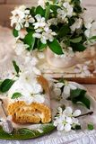 Cinnamon Apple Cake Roll with cream cheese. Style vintage.selective focus Royalty Free Stock Photography