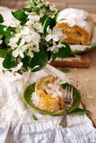 Cinnamon Apple Cake Roll with cream cheese. Style vintage.selective focus Royalty Free Stock Photos