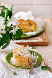 Cinnamon Apple Cake Roll with cream cheese. Style vintage.selective focus Royalty Free Stock Image