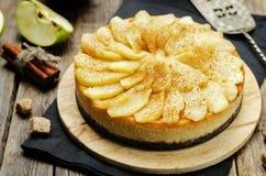 Cinnamon apple caramel cheesecake Stock Photos