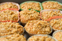 Cinnamon-apple cup cake with crunchy topping Royalty Free Stock Image