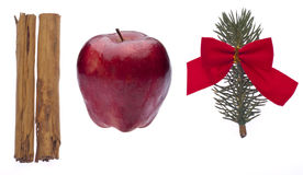 Cinnamon, Apple and Pine Branch for the Holidays Stock Photo