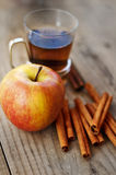 Cinnamon, apple and tea Stock Image