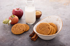 Cinnamon applesauce cookies. With spices and milk bottle Stock Photo