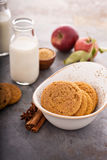 Cinnamon applesauce cookies. With spices and milk bottle Royalty Free Stock Photo