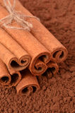 Cinnamon on the background of cocoa. Closeup Stock Images