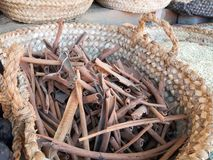 Cinnamon bark in basket Royalty Free Stock Photography