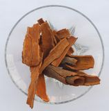 Cinnamon bark heap group placed in a glass bowl stock images