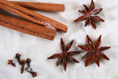 Cinnamon barks, cloves, anis star in white sugar Stock Photo