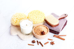 Cinnamon bath salt Stock Image