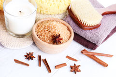 Cinnamon bath salt Royalty Free Stock Photos