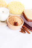 Cinnamon bath salt Royalty Free Stock Images