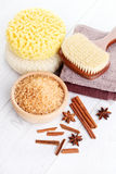 Cinnamon bath salt Stock Images