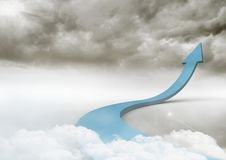 Blue arrow in clouds Stock Photo