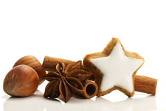 Cinnamon biscuit with cinnamon nuts and anise Royalty Free Stock Image
