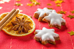 Cinnamon biscuits and christmassy spices Royalty Free Stock Photography