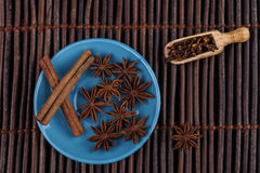 Cinnamon on Blue Royalty Free Stock Photo