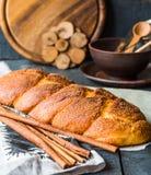 Cinnamon bun browned crust, sweet pastries Royalty Free Stock Photos