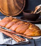 Cinnamon bun browned crust, sweet pastries Stock Images