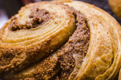 Cinnamon bun close up. A close up shot of a layered dough, brioche style cinnamon bun stock images
