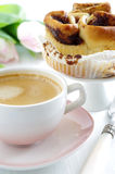 Cinnamon bun with coffee Stock Photography