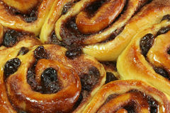 Cinnamon buns. With raisins macro shot Stock Photos
