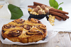 Cinnamon buns with chocolate and cream Stock Images