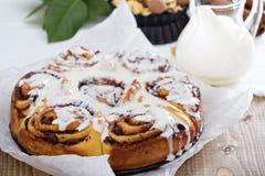 Cinnamon buns with chocolate and cream Royalty Free Stock Image