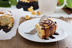 Cinnamon buns with chocolate and cream Royalty Free Stock Photo