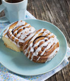 Cinnamon buns. Delicious Cinnamon buns on plate stock images