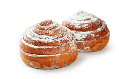 Cinnamon buns isolated on a white Stock Images