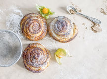 Cinnamon buns with sugar powder and ground cherry Stock Photography