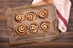 Cinnamon buns top view. Stock Image