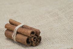 Cinnamon on a burlap Stock Images