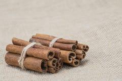 Cinnamon on a burlap Stock Photos