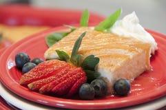 Cinnamon cake with fruit garnish Royalty Free Stock Photography