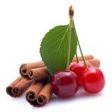 Cinnamon and cherries Royalty Free Stock Photo