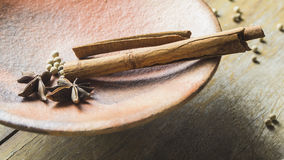 Cinnamon, Chinese star anise and pepper. In earthen plate Royalty Free Stock Photos