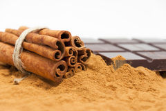 Cinnamon with chocolate Stock Photos