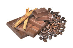 Cinnamon, chocolate and coffee beans Royalty Free Stock Photography
