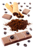 Cinnamon with chocolate and coffee beans stock photo