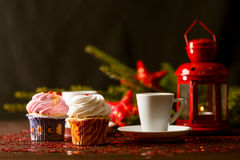 Cinnamon and chocolate muffins. Christmas homemade cakes Royalty Free Stock Photos