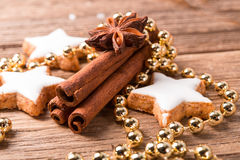 Cinnamon  and Christmas cake Stock Image