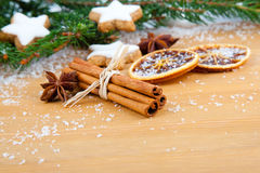 Cinnamon, Christmas cookies with festive decoration Royalty Free Stock Images